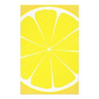 Bright Yellow Lemon Citrus Fruit Slice Stationery