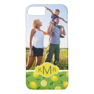 Bright Yellow Lemon Pattern | Add Your Photo iPhone 8/7 Case