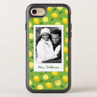 Bright Yellow Lemon Pattern | Add Your Photo OtterBox Symmetry iPhone 8/7 Case