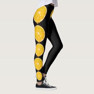 bright yellow lemon slice leggings