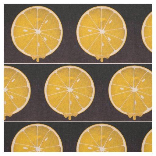 bright yellow lemon slice print fabric