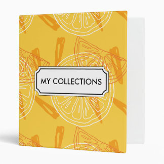 Bright yellow lemons drawn summer pattern 3 ring binders
