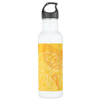 Bright yellow lemons drawn summer pattern 710 ml water bottle