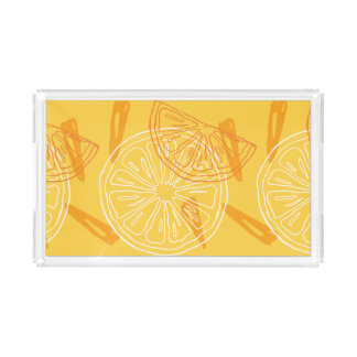 Bright yellow lemons drawn summer pattern acrylic tray