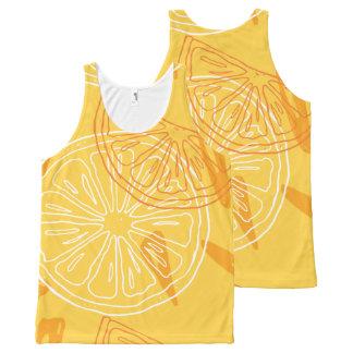 Bright yellow lemons drawn summer pattern All-Over-Print tank top