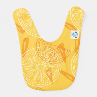 Bright yellow lemons drawn summer pattern bib