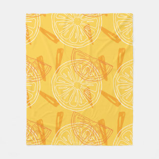 Bright yellow lemons drawn summer pattern fleece blanket