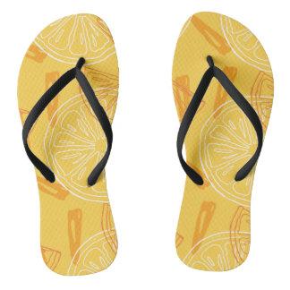 Bright yellow lemons drawn summer pattern flip flops