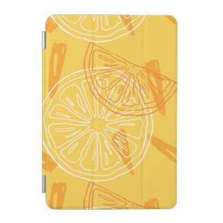Bright yellow lemons drawn summer pattern iPad mini cover