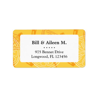 Bright yellow lemons drawn summer pattern label