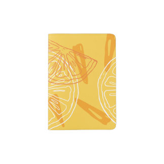 Bright yellow lemons drawn summer pattern passport holder