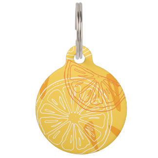 Bright yellow lemons drawn summer pattern pet ID tag