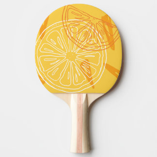 Bright yellow lemons drawn summer pattern ping pong paddle