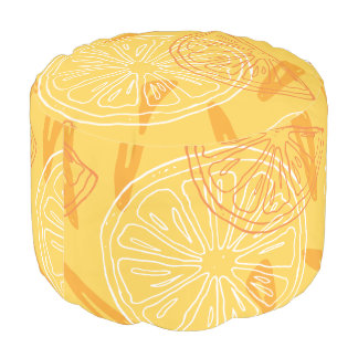 Bright yellow lemons drawn summer pattern pouf