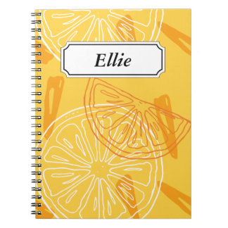 Bright yellow lemons drawn summer pattern spiral notebook