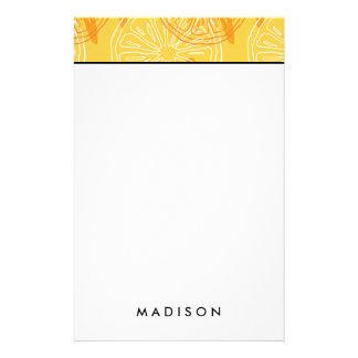 Bright yellow lemons drawn summer pattern stationery