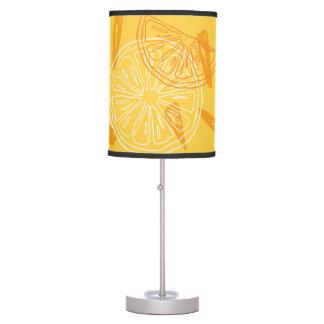 Bright yellow lemons drawn summer pattern table lamp