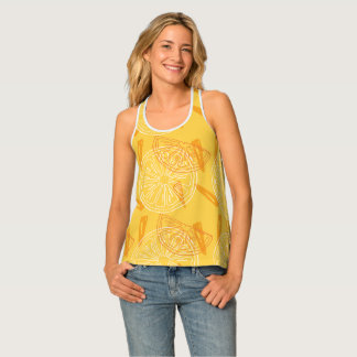 Bright yellow lemons drawn summer pattern tank top