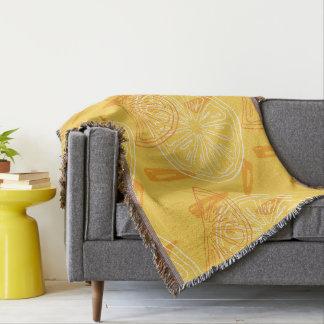 Bright yellow lemons drawn summer pattern throw blanket