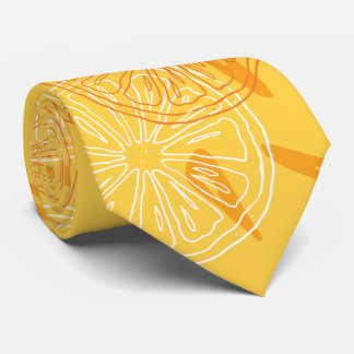 Bright yellow lemons drawn summer pattern tie