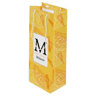 Bright yellow lemons drawn summer pattern wine gift bag