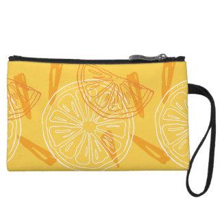 Bright yellow lemons drawn summer pattern wristlet