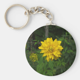 Bright Yellow Marigold  Flower Basic Round Button Keychain