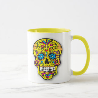 Bright Yellow Mexican Sugar Skull Day of the Dead Mug