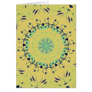 Bright Yellow Mint Green Centering Mandala Pattern Card