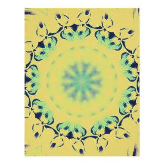 Bright Yellow Mint Green Centering Mandala Pattern Letterhead