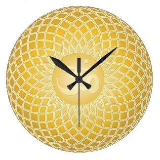 Bright Yellow Om Symbol Large Clock