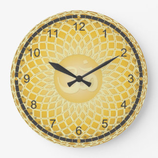 Bright Yellow Om Symbol Large Clock