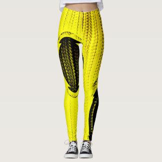 Bright Yellow Patch Leggins Modern Leggings