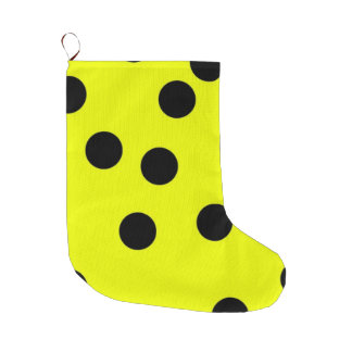 Bright Yellow Polka Dots Large Christmas Stocking