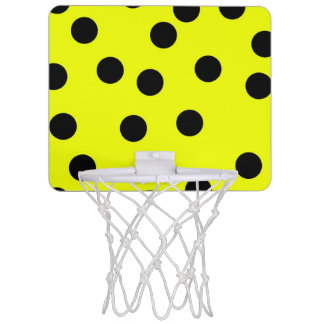 Bright Yellow Polka Dots Mini Basketball Hoop