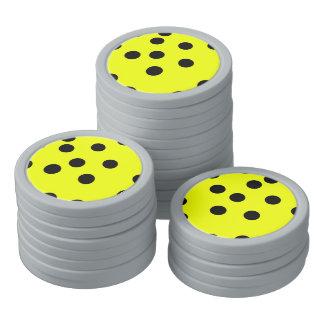 Bright Yellow Polka Dots Poker Chips Set