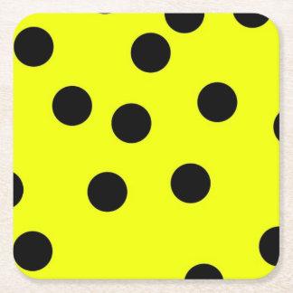 Bright Yellow Polka Dots Square Paper Coaster
