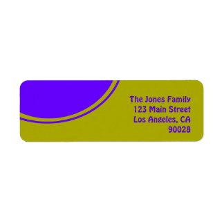 Bright yellow purple mod circle return address label