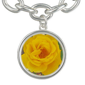 Bright Yellow Rose Charm and Bracelet