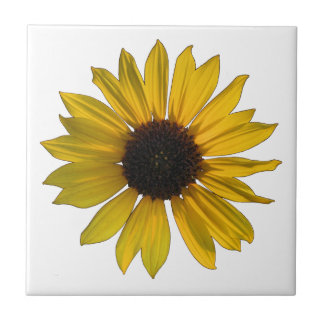 Bright Yellow Single Sunflower Tile