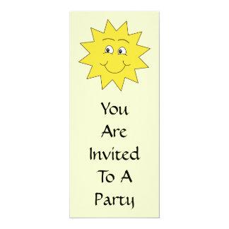 "Bright Yellow Summer Sun. Smiling Face. 4"" X 9.25"" Invitation Card"