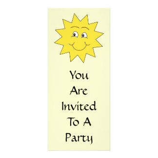 Bright Yellow Summer Sun Smiling Face Personalized Invitations