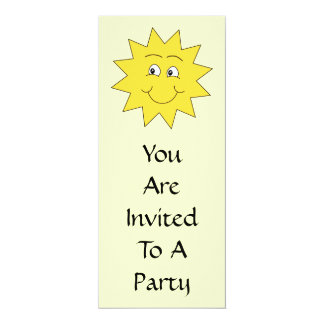 "Bright Yellow Summer Sun. Smiling Face. 4"" X 9.25"" Invitation Card"