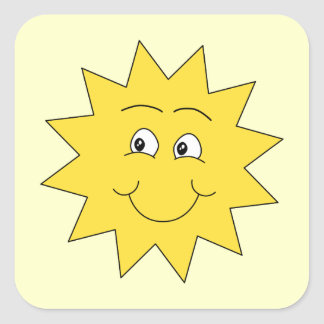 Bright Yellow Summer Sun. Smiling Face. Square Sticker