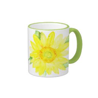 Bright Yellow Summer Sunflower Watercolor Ringer Coffee Mug
