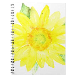 Bright Yellow Summer Sunflower Watercolor Spiral Notebook