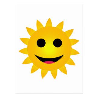 Bright yellow sun smiling postcard