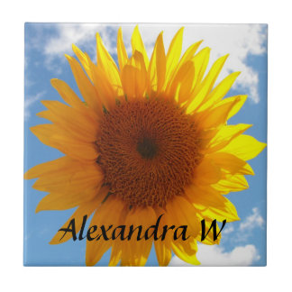 Bright Yellow Sunflower Blue Sky Personalized Tile