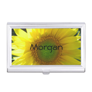 Bright Yellow Sunflower Business Card Holder