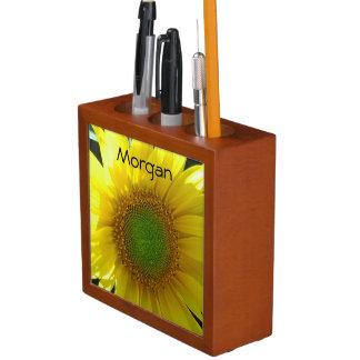 Bright Yellow Sunflower Desk Organizer